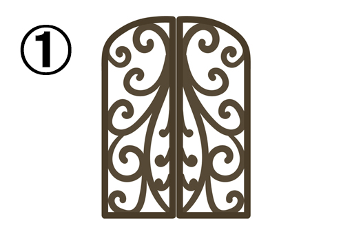 繊細なデザインの、カールした細めの窓枠