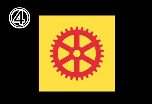 黄色背景に、太めの赤い歯車