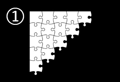 左上の角から三角形に組まれたパズル