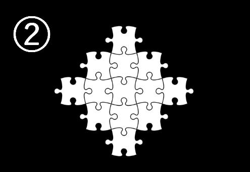 ダイヤ型に組まれたパズル