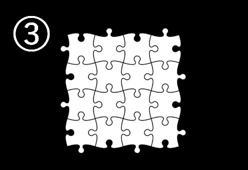 正方形に組まれたパズル