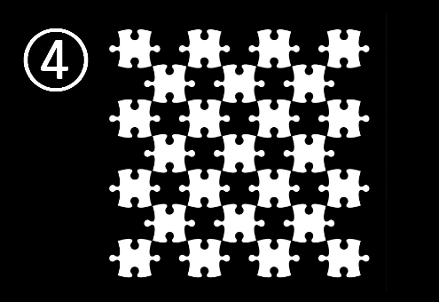 正方形に互い違いに並べられたパズル