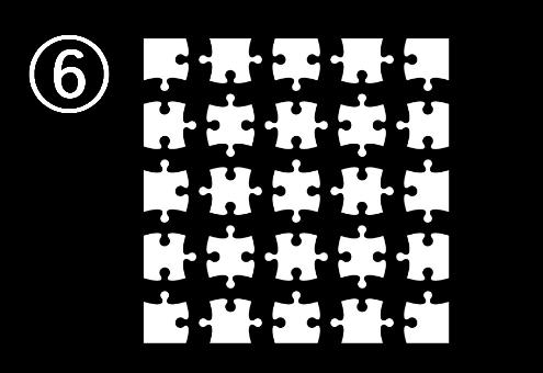 距離をとって正方形に並べられたパズル