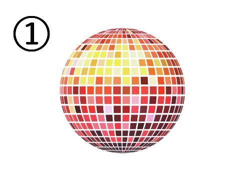 黄色、赤、ピンクに光るミラーボール