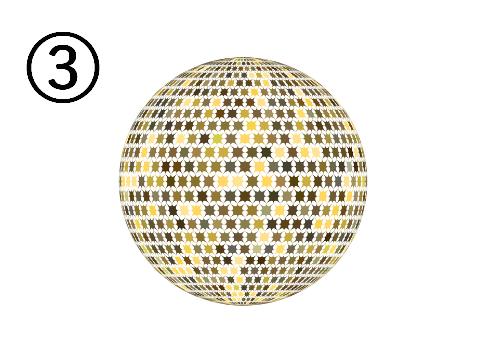 黄色、白等に光るミラーボール