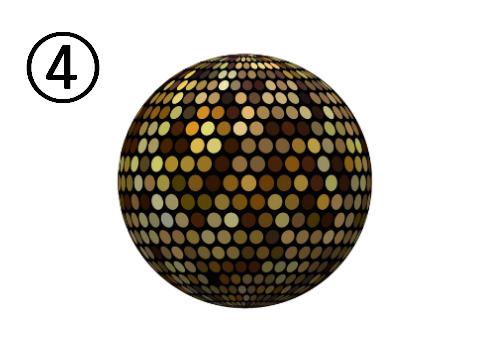 黄色、茶色等に光るミラーボール