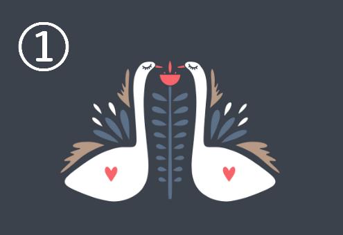 羽にハートのある白鳥が向き合い、周囲に赤、ネイビー、ベージュの装飾があるシンメトリーデザイン