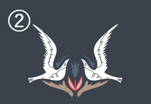 羽を広げた白い鳩が向き合い、下に赤、ネイビー、ベージュの装飾があるシンメトリーデザイン