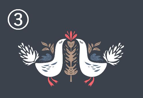 尾が大きめの白い鳥が向き合い、周囲に赤、ネイビー、ベージュの装飾があるシンメトリーデザイン