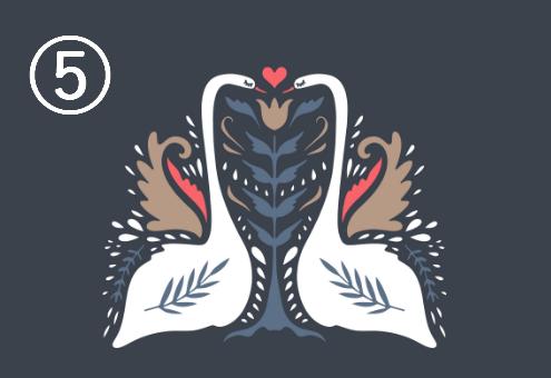 白鳥が向き合い、羽が葉っぱのような模様になっている周囲に赤、ネイビー、ベージュの装飾がある、シンメトリーデザイン
