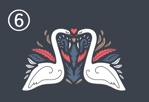 白鳥が向き合い、周囲に赤、ネイビー、ベージュの装飾があるシンメトリーデザイン