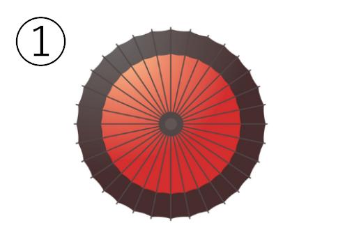 縁の黒い赤い和傘