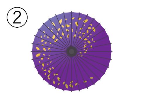 螺旋状に紙吹雪のような柄のある、紫の和傘