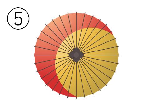 右下方向に見切れた黄色い丸のある、赤い和傘