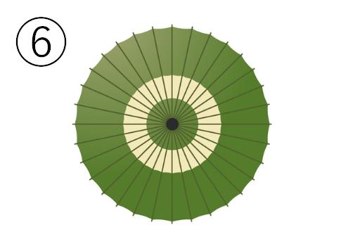 中心付近に白の輪っかのある抹茶色の和傘