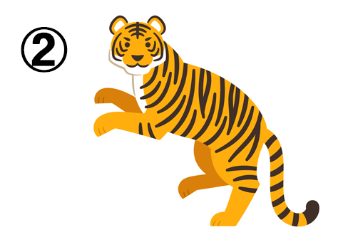 左向きに二本足で立ってこちらを向くトラ