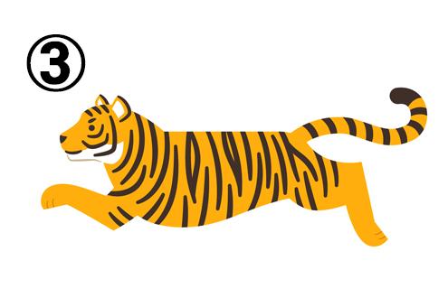 左向きに駆け抜けるトラ