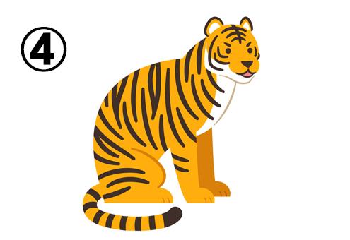 右向きに座って斜め方向を向くトラ