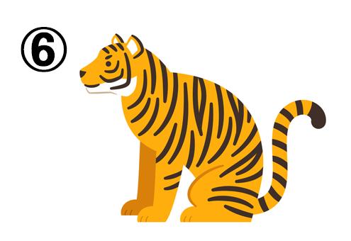左向きに座るトラ