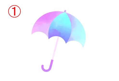 左からピンク、水色、青、水色のグラデーションの傘