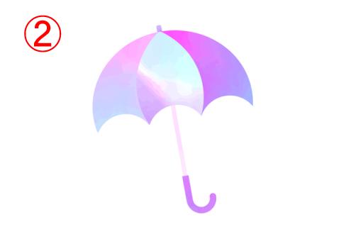 左から薄い青、薄ピンク、白、ピンク、紫のグラデーションの傘