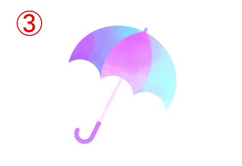 左から紫、水色、ピンク、水色のグラデーションの傘