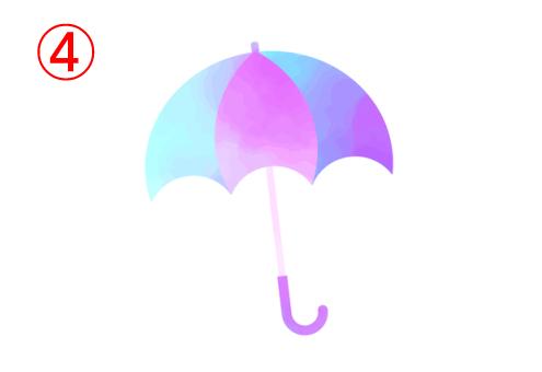 左から水色、ピンク、水色、青、紫のグラデーションの傘