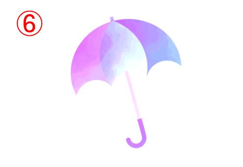 左からピンク、白、紫、青のグラデーションの傘