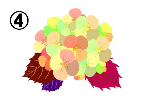 黄緑、黄色、オレンジ等の花に、赤紫、赤、紫の葉の紫陽花