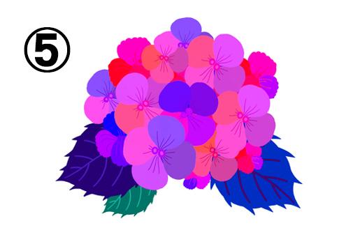 ピンク、紫、青等の花に、ネイビー、青、緑の葉の紫陽花