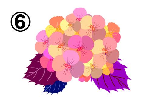 ピンク、黄色、オレンジ等の花に、赤紫、青、紫の葉の紫陽花