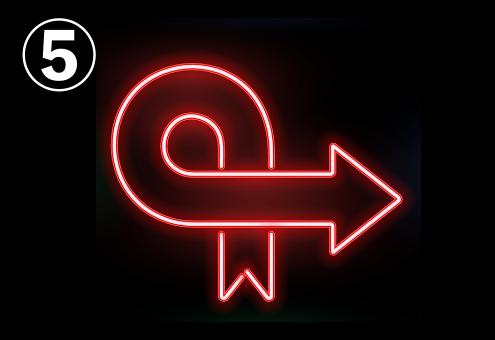 一回転してクロスしている赤いネオン矢印