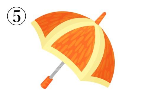 ミカンの房のような柄の傘