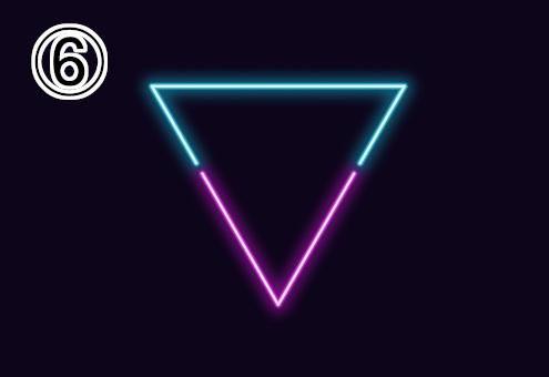 ネオン風の水色、紫の逆三角形