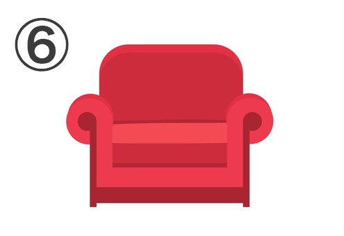 赤いシングルソファ
