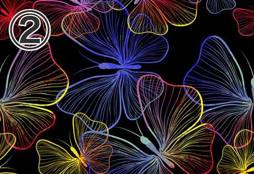 黒地に赤、黄色、青、白のグラデーションの蝶柄
