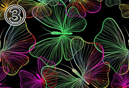 黒地に緑、ピンク、黄色のグラデーションの蝶柄