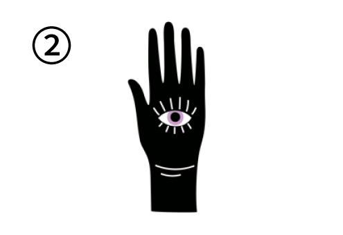 目が描かれた手