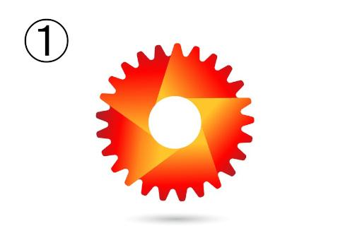 歯車のような赤とオレンジのグラデーションシンボル