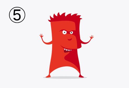 髪のある、やんちゃな表情の長方形のような赤いモンスター
