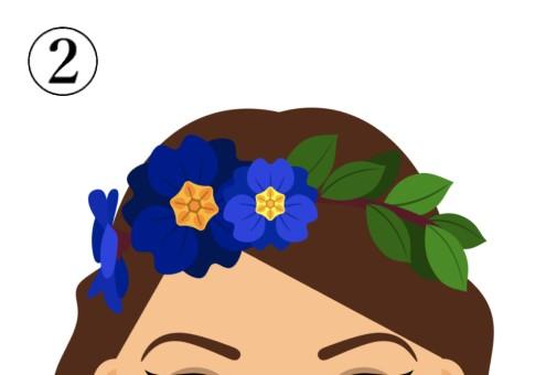 中心が黄色い、青い花の花冠