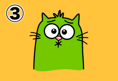 緑色になった、酸っぱい口をしている猫のスタンプ