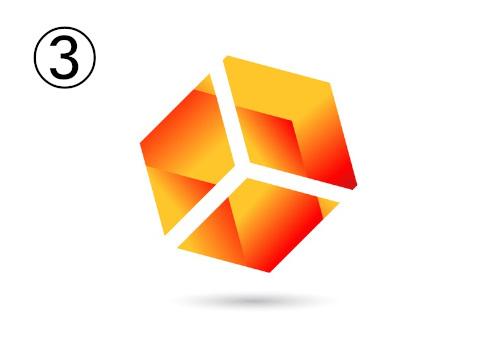 キューブ型の赤とオレンジのグラデーションシンボル