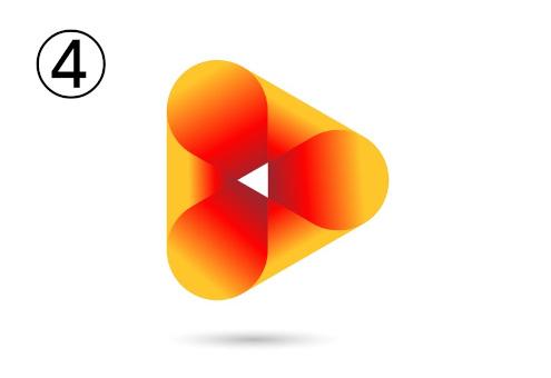 幾何学っぽい三角形の赤とオレンジのグラデーションシンボル