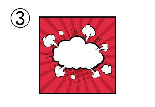 赤の集中線背景に、雲のような激しめの白吹き出し