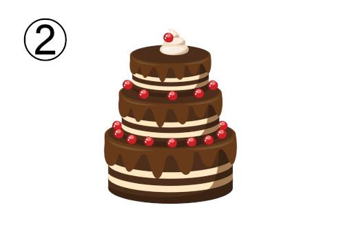 チョコレートの三段重ねケーキ