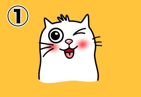 ウィンクして舌を出す猫のスタンプ