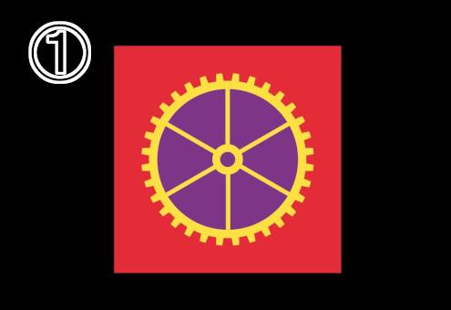 赤背景、隙間が紫の細めの黄色い歯車