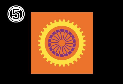 オレンジ背景に、黄色と紫の2色に分かれた歯車