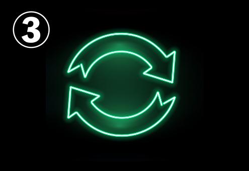 繰り返しマークのような、2つの緑ネオン矢印